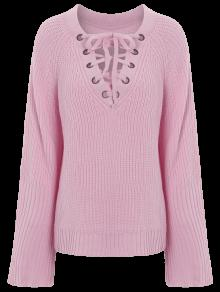 High Low V Neck Lace Up Sweater PINK: Sweaters ONE SIZE | ZAFUL