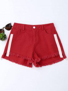 Striped Frayed Hem Denim Shorts - Red S