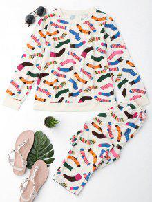 Lindo Calcetines Imprimir Camiseta Con Pantalones - Palomino 2xl