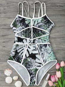 Piping Tropischer Druck Einteiler Badeanzug - Weiß Und Grün S