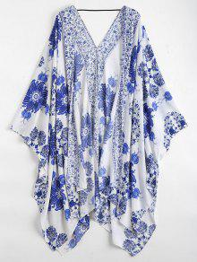 Buy Floral Kimono Cover - BLUE AND WHITE ONE SIZE