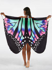 Butterfly Print Beach Wrap Cover Up Dress - L