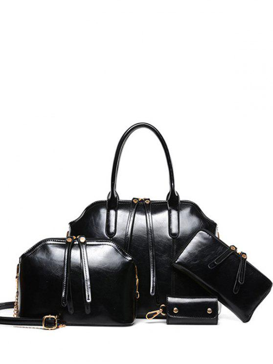 chic Zips Solid Color PU Leather Tote Bag - BLACK