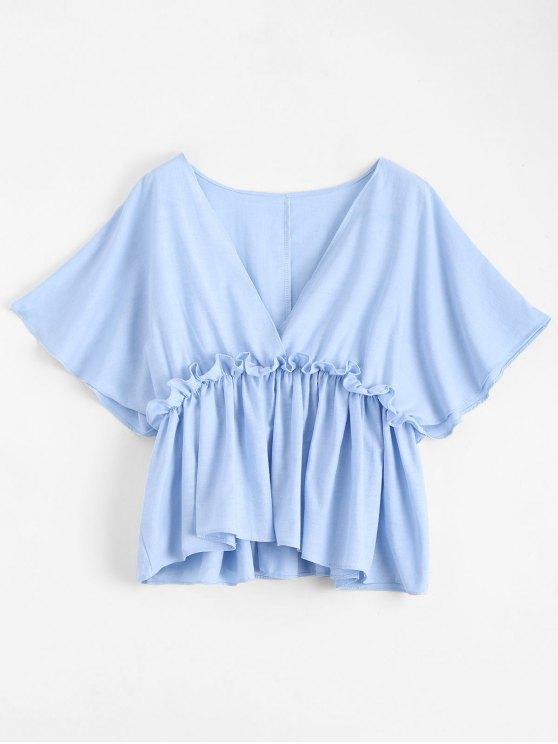 Batwing cuello en V con volantes - Azul Claro L