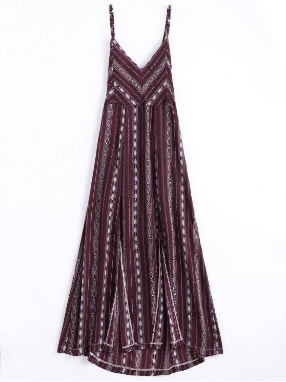 Robe de plage mi-longue à rayures avec fente élevée à bretelle en croisillon - Rouge vineux  L