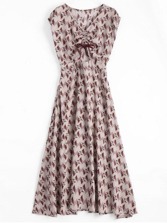 فستان طباعة الأزهار والهندسية بونوت ميدي - الأزهار L