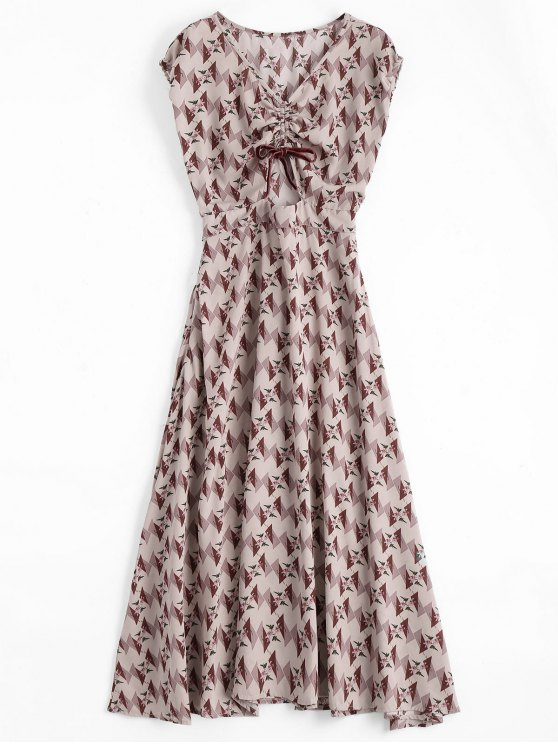 latest Floral Geometric Bowknot Midi Dress - FLORAL S