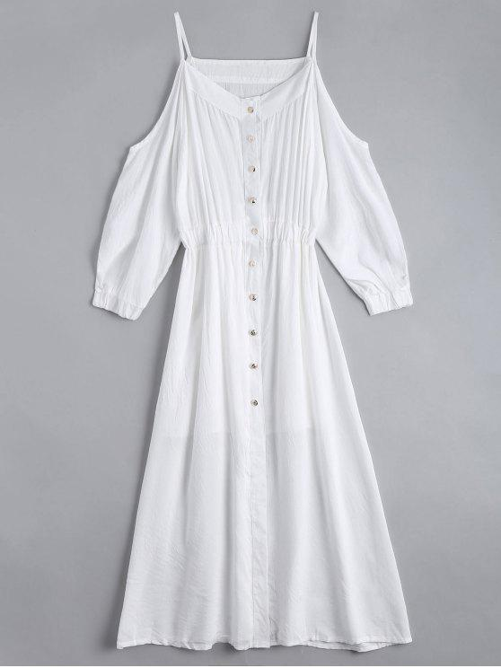 eb25ed134613d 32% OFF  2019 Cold Shoulder Cami Shirt Dress With Tube Top In WHITE ...