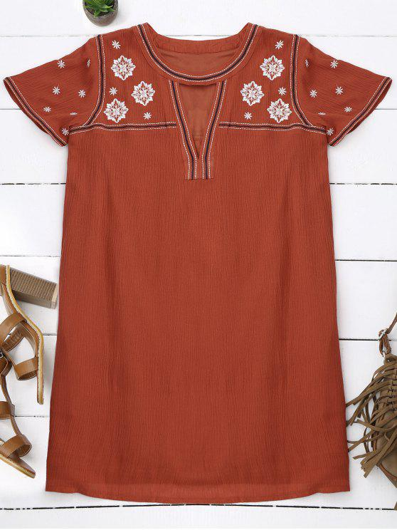 fancy Floral Embroidered Mini Tunic Dress - ORANGE S