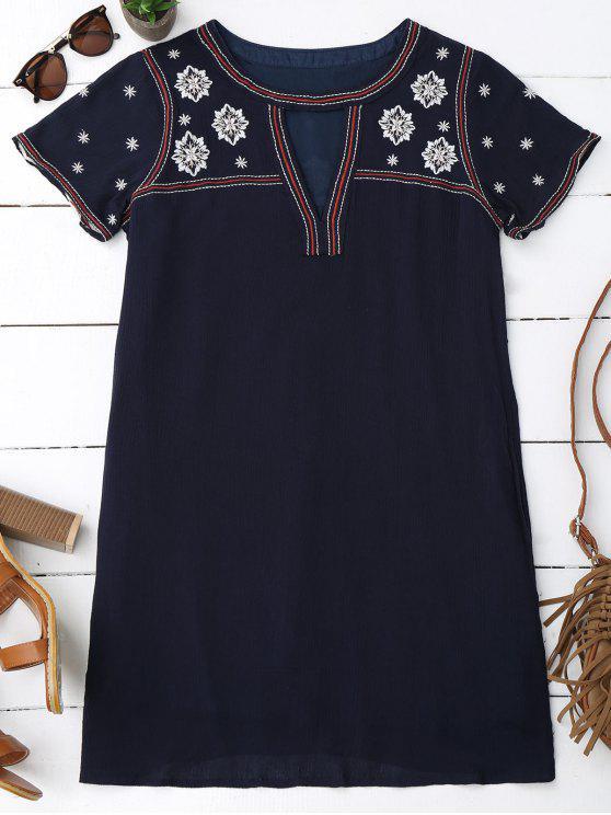 womens Floral Embroidered Mini Tunic Dress - PURPLISH BLUE S