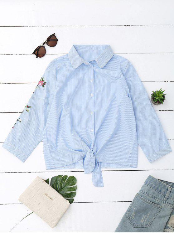 best Embroidered Striped Knotted Shirt - STRIPE M
