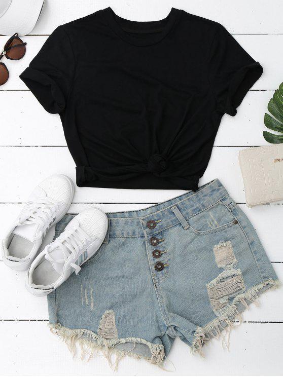 Camiseta de manga corta lisa - Negro M