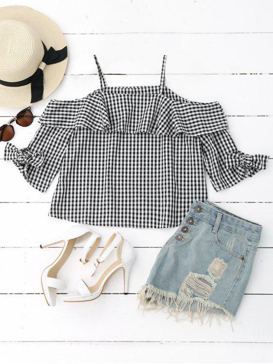 women Ruffles Off Shoulder Cami Plaid Blouse - CHECKED S