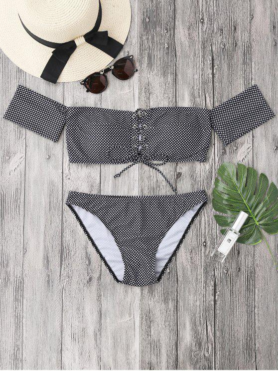 womens Dotted Lacing Off The Shoulder Bikini Set - WHITE AND BLACK S