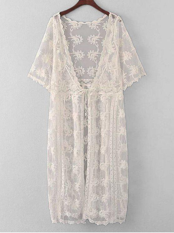 hot Embroidered Sheer Lace Kimono Cover Up - OFF-WHITE ONE SIZE