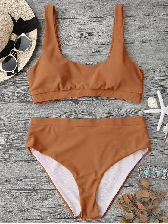 Traje de Bikini Midi con Cuello en U sin Aros - Marrón S