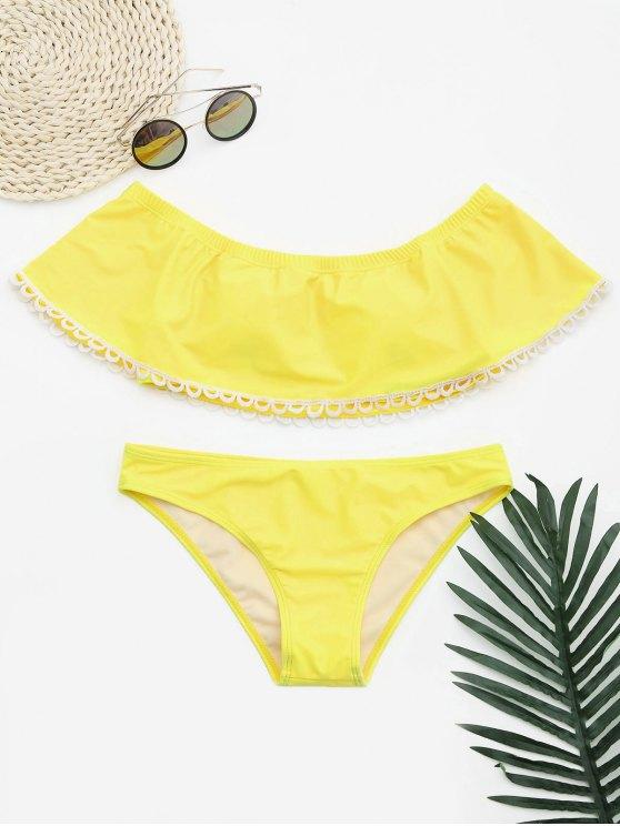 women Overlay Off Shoulder Bikini - YELLOW L