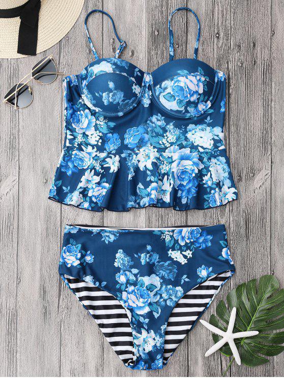 Tankini Floral Com Babado e calcinha Cós Alto - Azul M