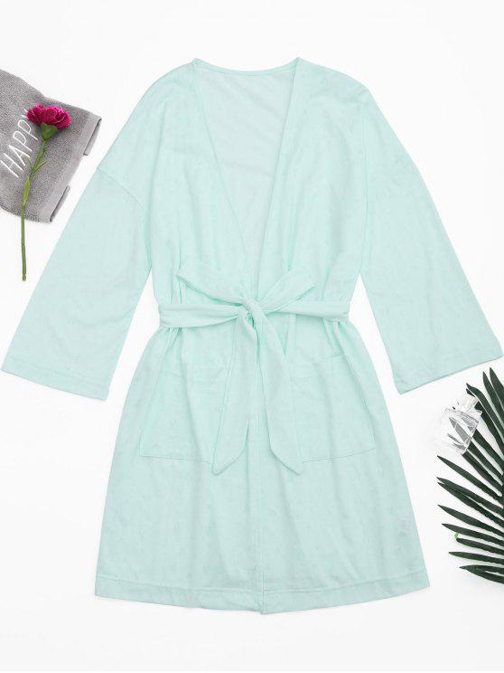 Kimono cinturón bolsillos noche traje - Verde Claro S