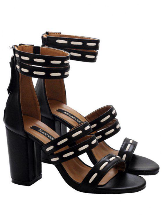 Falso cuero elástico cremallera sandalias - Negro 39