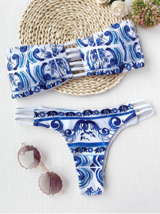 Bikini bandeau imprimé porcelain - Bleu et Blanc M