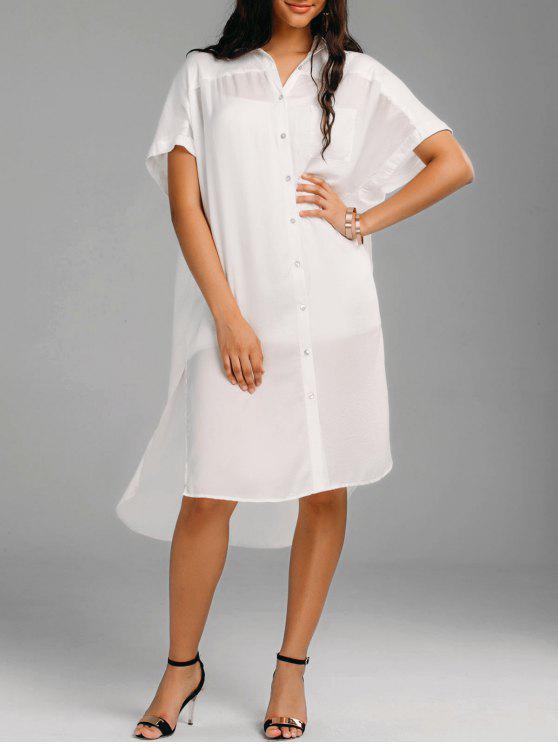 chic Oversized High Low Slit Shirt Dress - WHITE 2XL