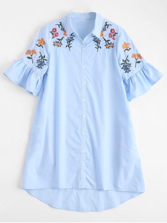 Robe Chemise Brodée Haut-Bas à Manches Volantées - Bleu Léger  L