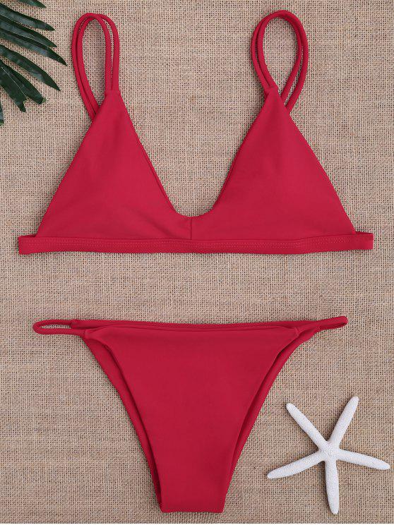 shop Low Waisted Spaghetti Straps Bikini Swimwear - RED M