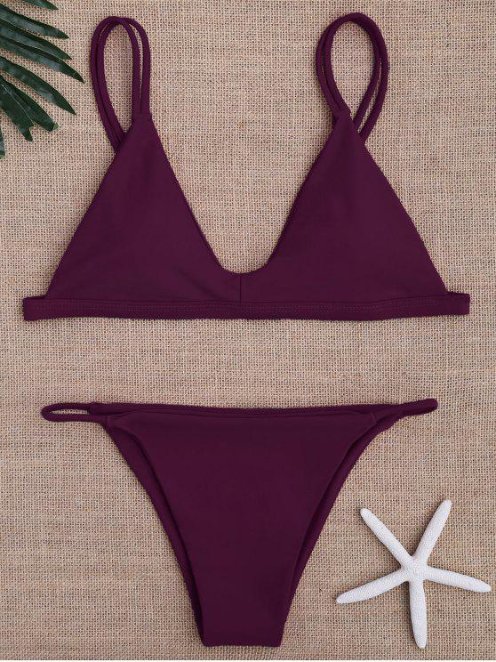 fashion Low Waisted Spaghetti Straps Bikini Swimwear - PURPLISH RED M