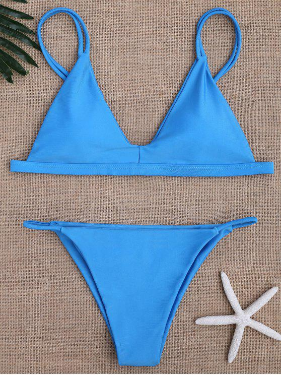 sale Low Waisted Spaghetti Straps Bikini Swimwear - BLUE M