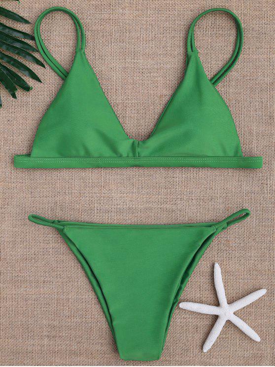 buy Low Waisted Spaghetti Straps Bikini Swimwear - GREEN XL
