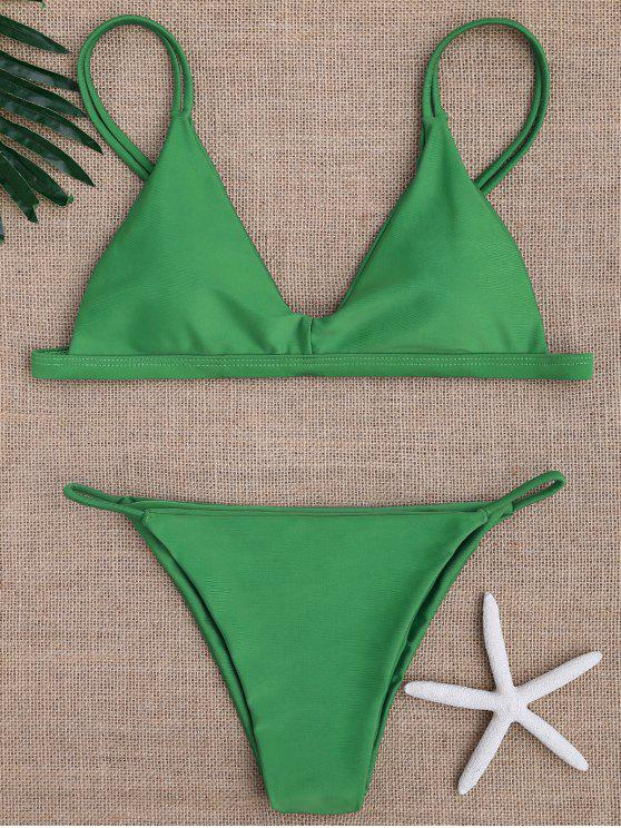 womens Low Waisted Spaghetti Straps Bikini Swimwear - GREEN L
