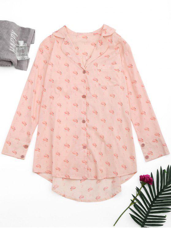 High Low Flamingo Print Loungewear Shirt - Pink M