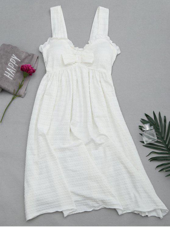 الكشكشة الأشرطة بونوت مبطن اللباس النوم - أبيض M