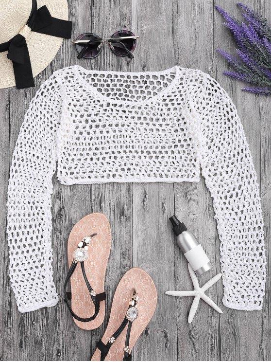 Crochet Fishnet Beach Cover Up Crop Top - Blanco M