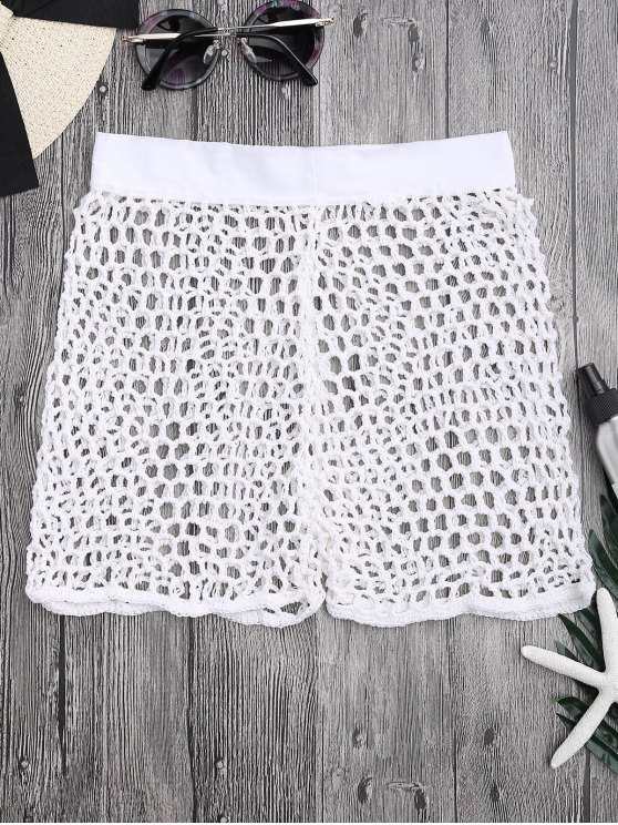 lady Crochet Fishnet Beach Cover Up Shorts - WHITE M