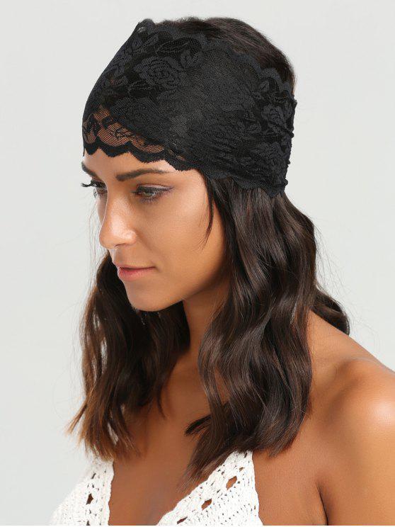 Lace Rose Pettern Elastic Wide Headband - Preto