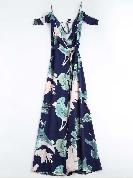 robe enveloppée cami imprimée en motif de feuilles - Bleu Violet M