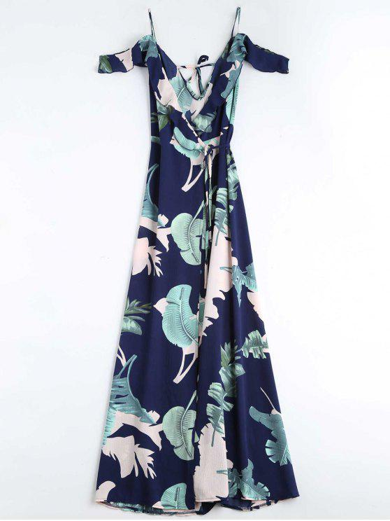 Blätter Druck Cami gewicktes Kleid - Schwarzblau L