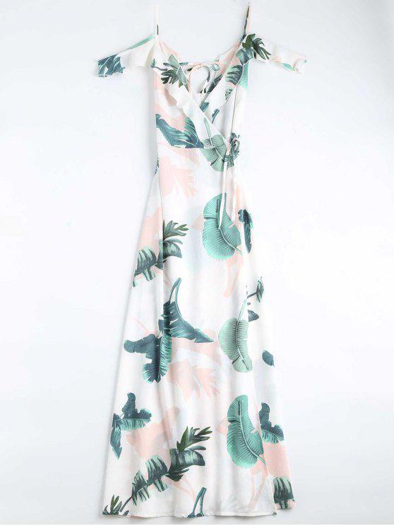 Vestido Longa Transpassado Com Alcinha Estampa Folhas - Branco M