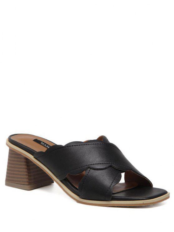 Zapatillas festone con cuero - Negro 39