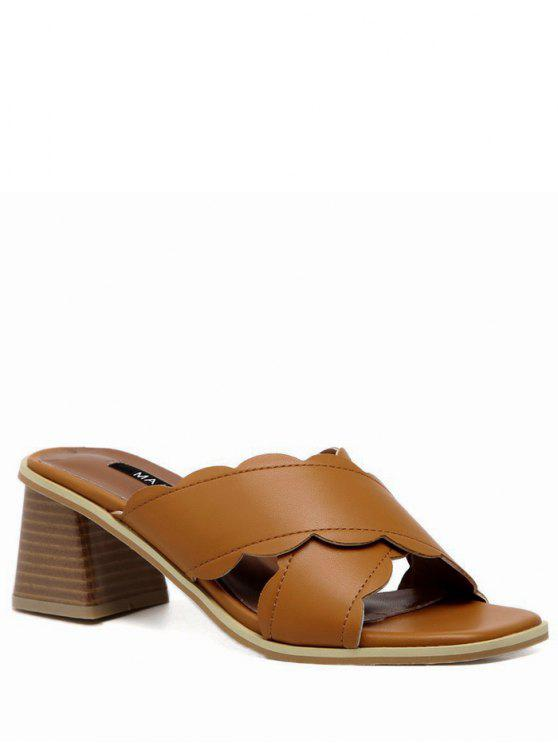 online Faux Leather Chunky Heel Scalloped Slippers - BROWN 39