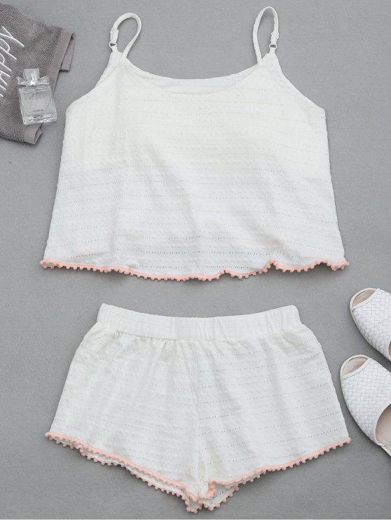 Loungewear Pom gepolsterte Cami Top mit Shorts - Weiß L