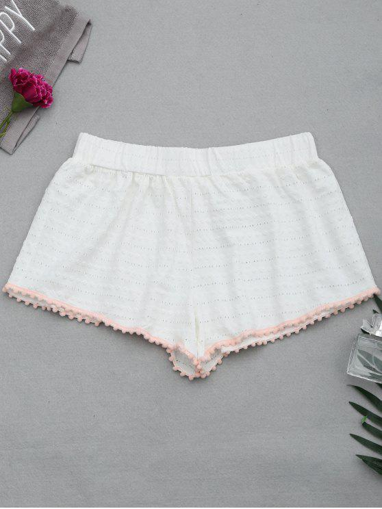 Hollow Out Loungewear Pom Shorts - Branco S