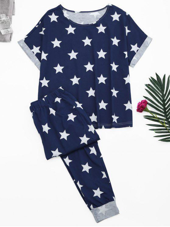 outfit Loungewear Pentagram Star Print T-Shirt with Pants - BLUE M