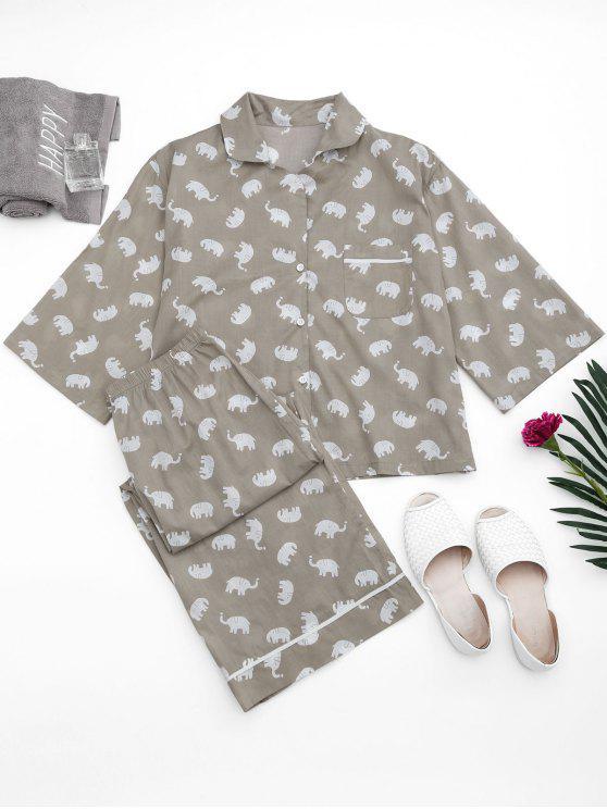 لونجوير الفيل طباعة قميص مع السراويل - رمادي M