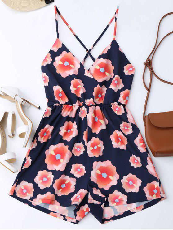 Cami Spielanzug mit Blumendruck und Kreuzgurte - Blumen S