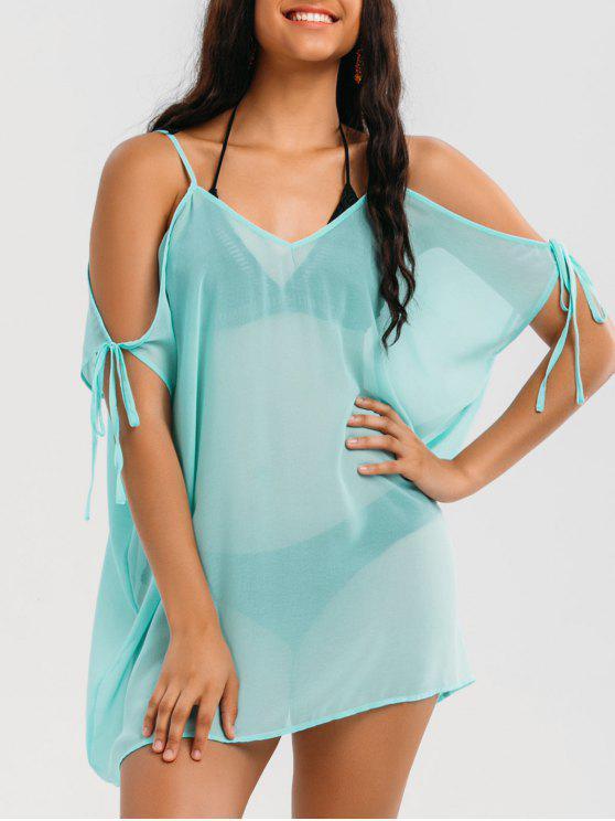 فستان شفاف باردة الكتف تونك مصغر - الضوء الأزرق XL