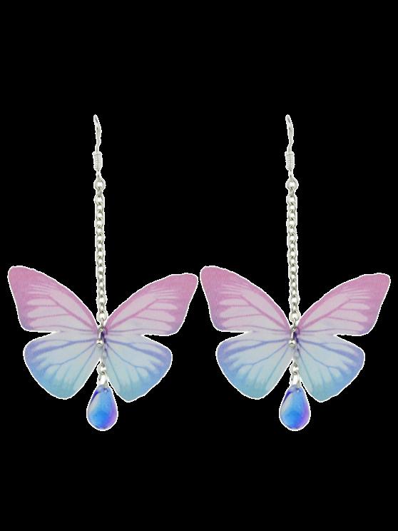 Boucles d'oreilles de goutte d'eau de pierre acrylique en forme de papillon - ROSE PÂLE