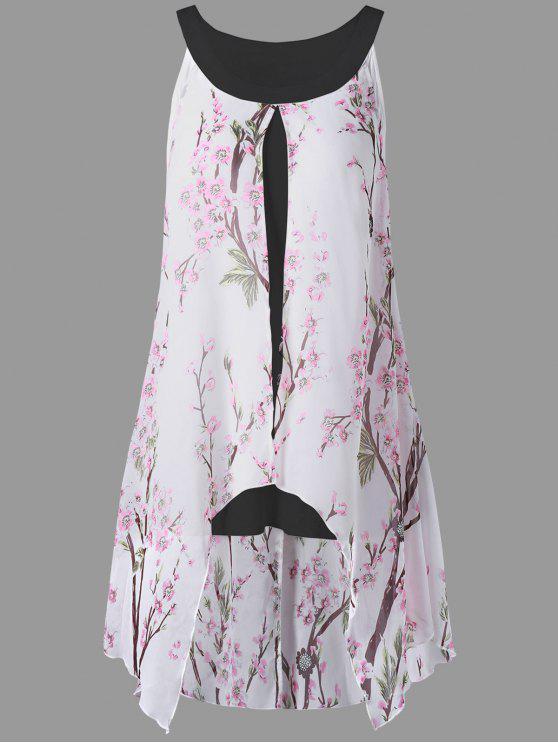 sale Plus Size Tiny Floral High Low Blouse - BLACK 4XL
